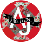 "abolition journal logo - The word ""ABOLITION"" in white on a black ribbon, draped over the capital letters, A and J, superimposed on a red circle background and a diamond made out of quilt material with a pink rose pattern. This logo was made by Amanda Priebe."