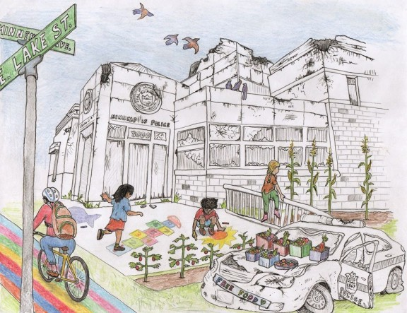 "community garden - A detailed pencil crayon illustration in a landscape format. The destroyed Minneapolis Police Department and a broken down police car with smashed windows and lights are depicted in black and white. All of the other elements in the work are depicted in vibrant color. In front of the police station, three children are drawn playing hopscotch, drawing on the sidewalk with chalk and watching corn grow. Three tomato plants grow in front of the children drawing. A person is shown from behind cycling past the children on a rainbow painted bike path. A ""Free food"" sign covers the bumper of the broken police car and six boxes of vegetables sit on its hood."
