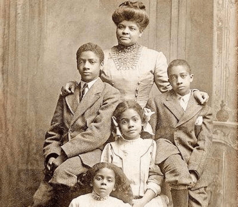 Ida B. Wells-Barnett with her children Charles, Herman, Ida, and Alfreda, 1909 (public domain)