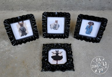 Dapper Doges & Couture Kitties Framed Mini Prints (frame colours vary) - $10