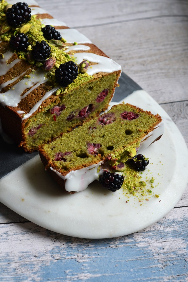 Pistachio, Blackberry, and Lemon Loaf Cake