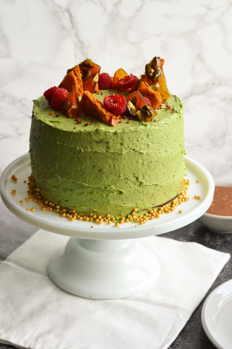 The Bake Off Bake Along: Chocolate & Pistachio Caramel Cake