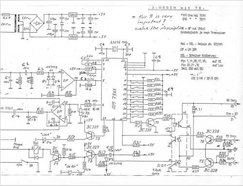 small resolution of schematic of the circuit using the am7910 chip
