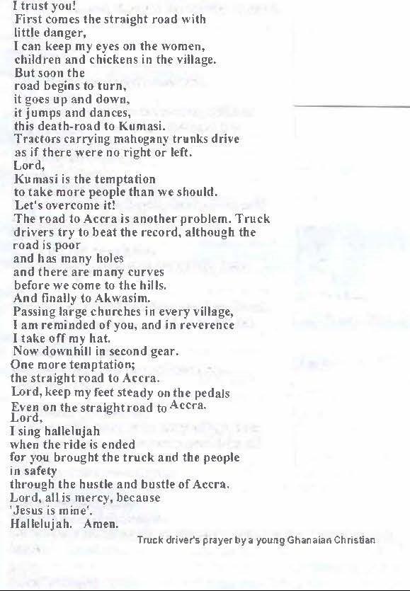 Ghanaian truck driver's prayer