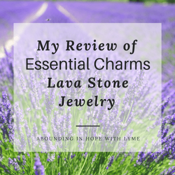 Lavender background with text My Review of Essential Charms Lava Stone Jewelry