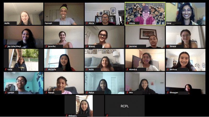 Screenshot of group Zoom call. The image displays a grid of the Zoom screens of 18  teen girls participating in the call.