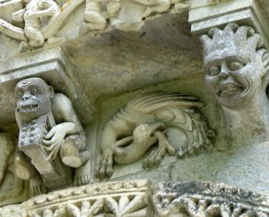 Romanesque carvings on small Saintonge church