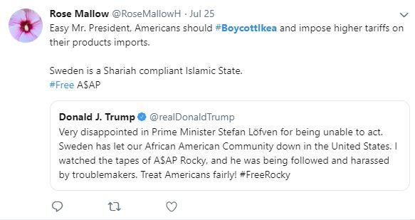 Príklad  twetu na bojkotovanie Ikea ako rakcia na tweet Donald Trump, kde reaguje na švédskeho premiéra po tom, čo posupovali podľa švédskych zákonov.