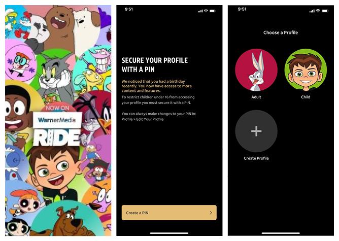 Screenshots of the WarnerMedia Ride app