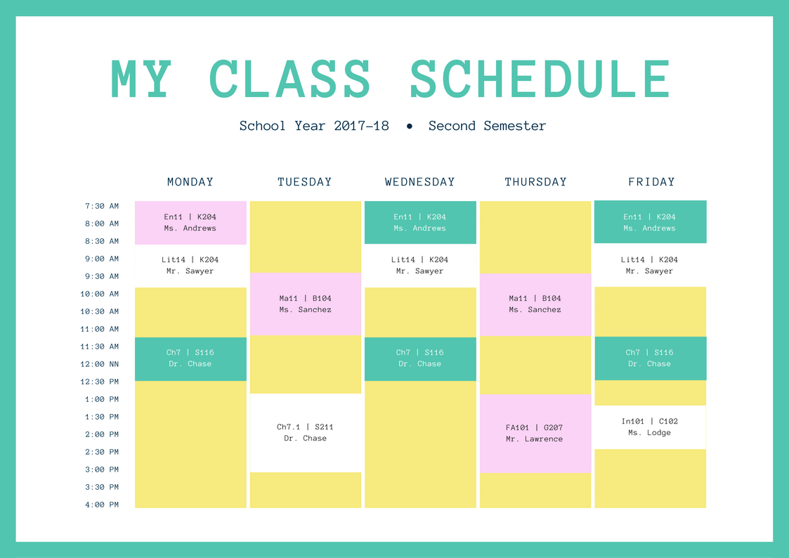 school schedules online