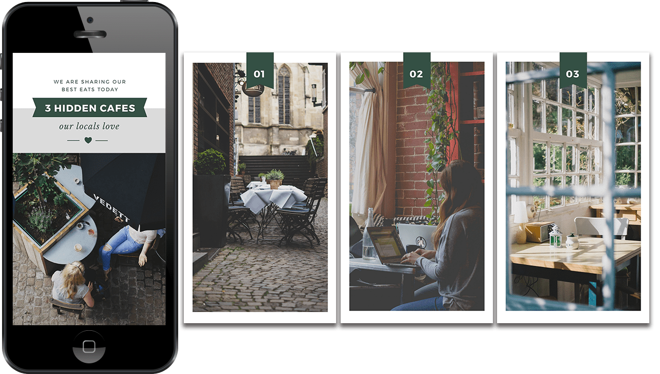 12 Awesome Instagram Stories Templates - 4 Page Hidden Cafes Template