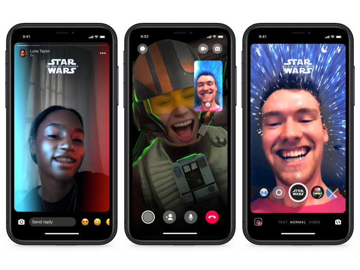 Phone screens showing Star Wars AR effects in Messenger
