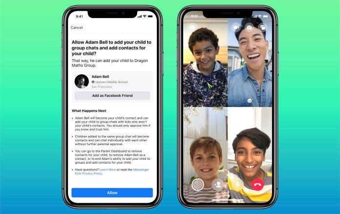 Captura de tela do chat em grupo do Messenger Kids