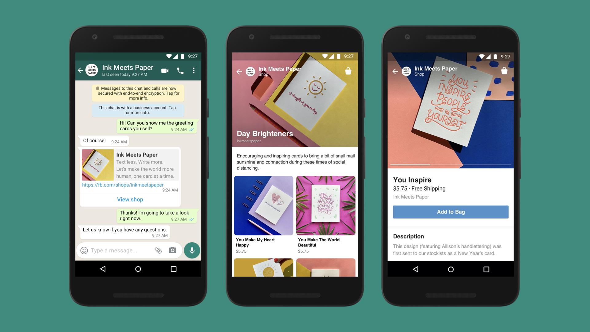 Capturas de pantalla de la mensajería de una empresa en WhatsApp