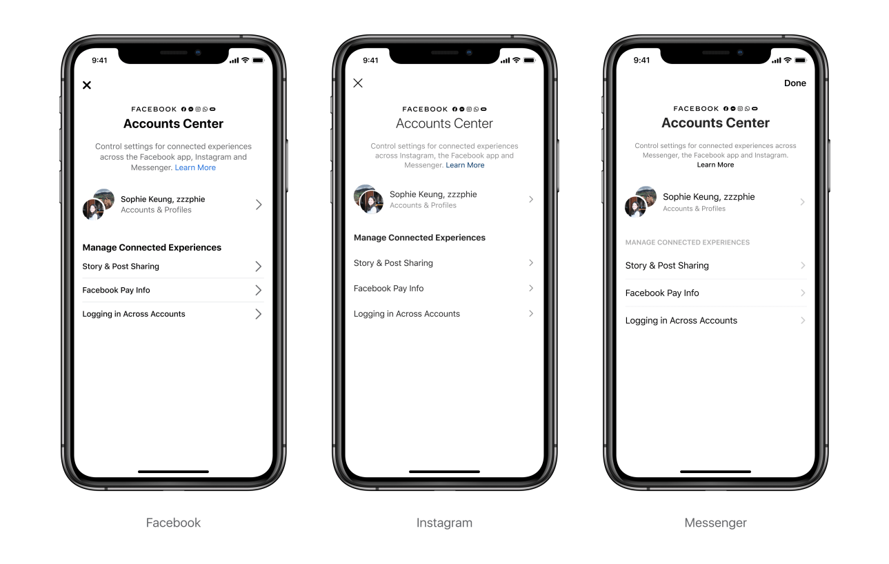 Facebook testing Accounts Center in settings on Facebook