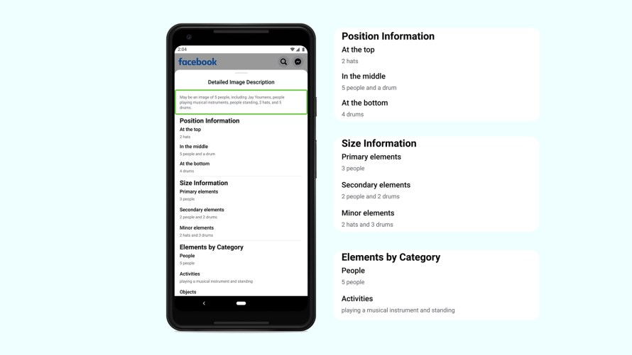 Screenshot of the automatic alt text detailed information menu