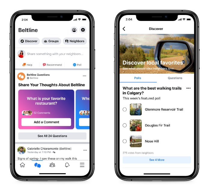 Facebook neighbourhoods product mock