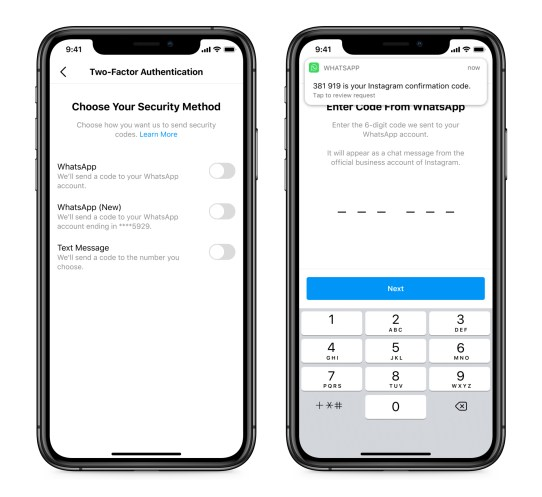 Screenshot of Instagram two-factor authentication through WhatsApp
