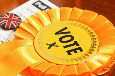 Yellow, Liberal Democrat Party coloured electioneering rosette, typically used in canvassing votes in local, council, national or European election in the UK. The rosette is shown with a UK Union Jack Button Badge with a Voters poll card, which is sent to everybody entitled to vote in an election.