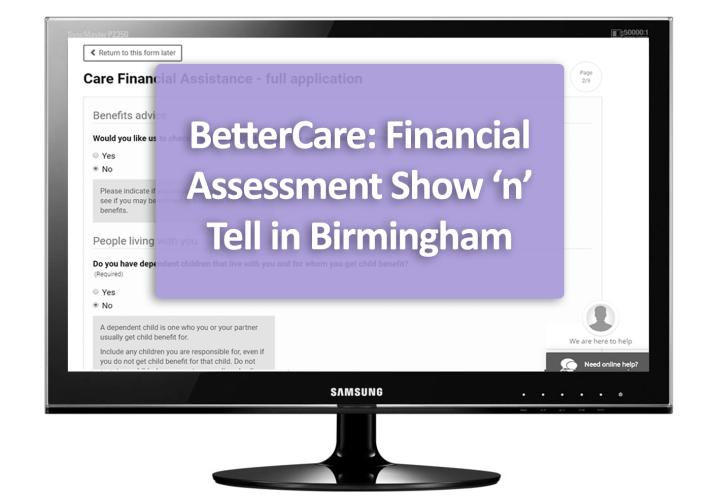 BetterCare: Financial Assessment Show 'n' Tell in Birmingham