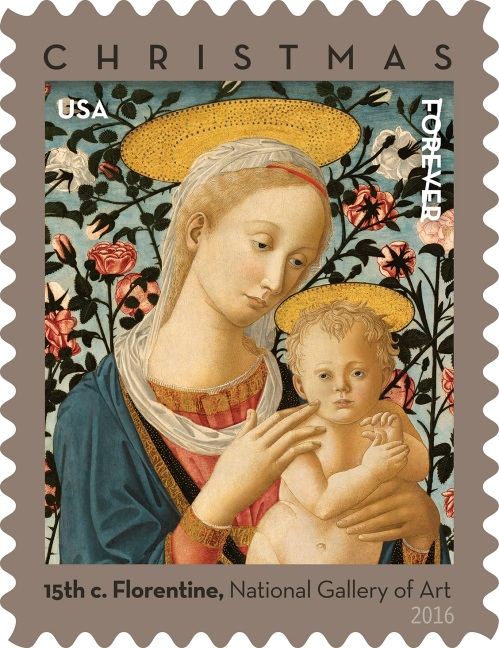 Florentine Madonna And Child Christmas Stamp Dedicated Today