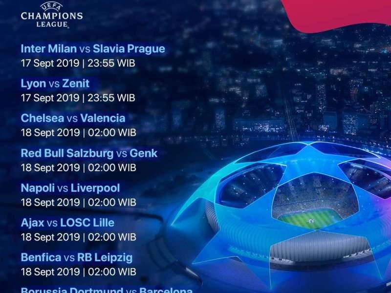 Jadwal Pertandingan Liga Champions Matchday 1 17-19 September 2019