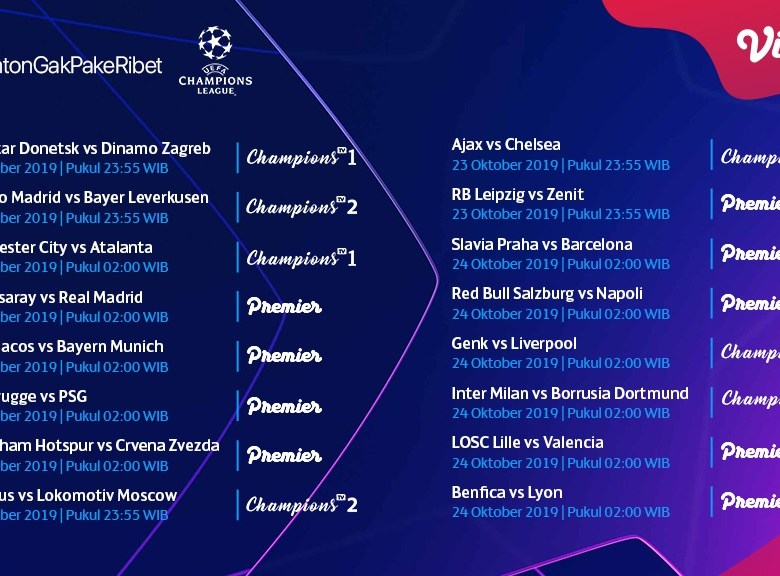 Jadwal Pertandingan Liga Champions 22 – 24 Oktober 2019