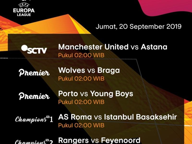 Jadwal Pertandingan Liga Eropa 19 – 20 September 2019