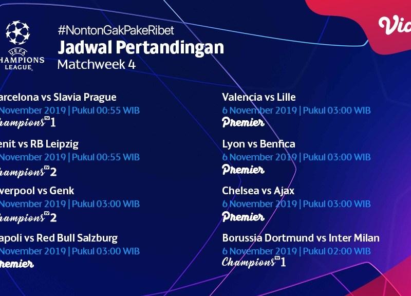 Jadwal Pertandingan Liga Champions 6 – 7 November 2019