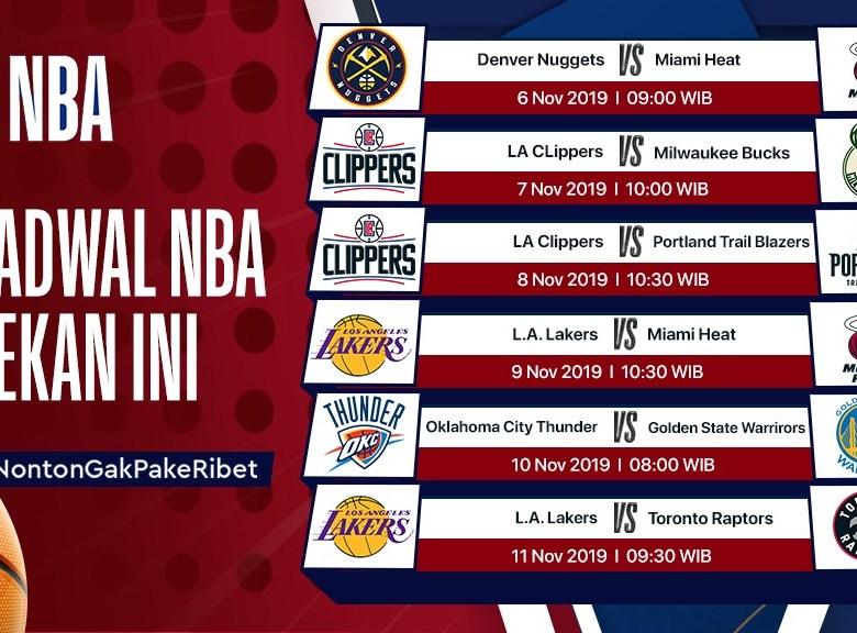 Jadwal NBA Pekan Ini (6 – 11 November 2019)