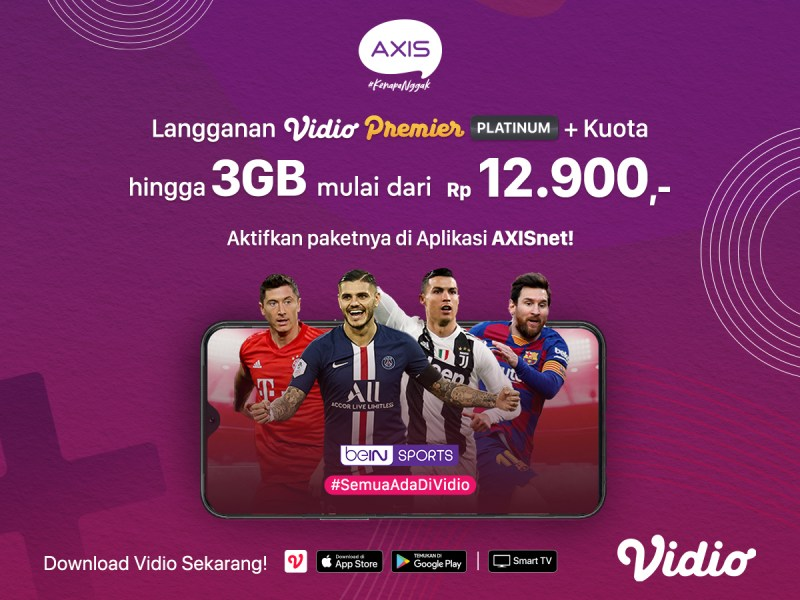 Langganan Vidio Premier Platinum, Nonton Streaming dengan AXIS Bonus Kuota Hingga 3GB!