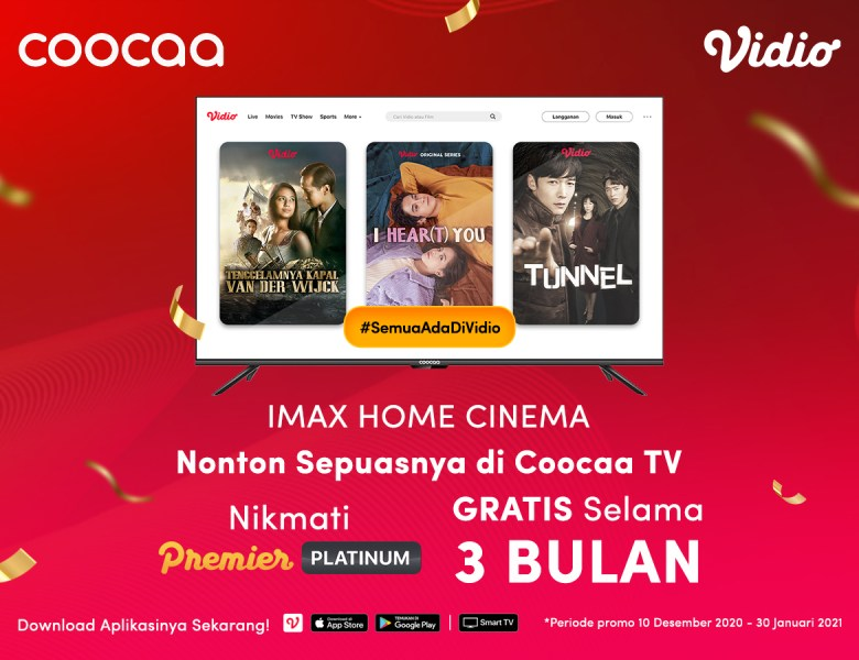 Kado Akhir Tahun! Bebas Akses Vidio Premier Platinum Selama 3 Bulan di Coocaa TV!