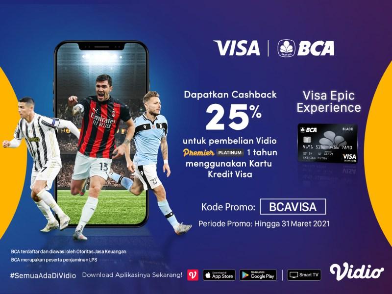 Promo Akhir Tahun ! Beli Vidio Premier Platinum 1 Tahun Pakai Kartu Kredit Visa BCA & Extra Cashback Potongan 25%