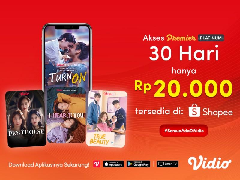 Vidio Premier Platinum Hanya Rp 20.000,- di Payday Promo Shopee, Klaim Sekarang!
