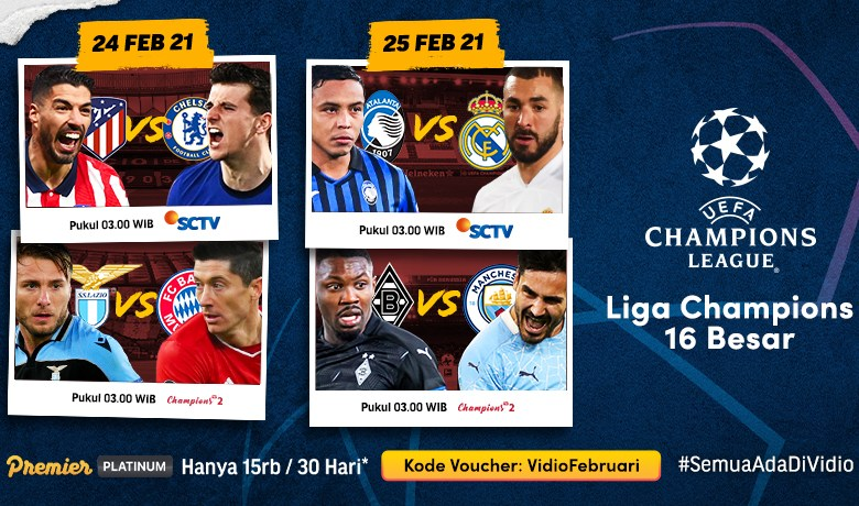 Jadwal dan Link Live Streaming Liga Champions Dini Hari Nanti di Vidio, Big Match : Atletico Madrid vs Chelsea