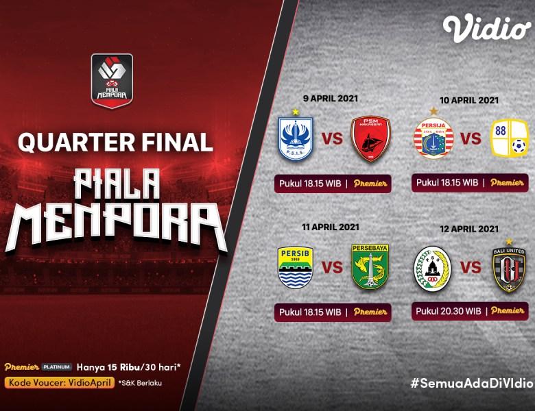 Nonton Streaming Persija Jakarta vs Barito Putera Babak 8 Besar Piala Menpora 2021 di Vidio