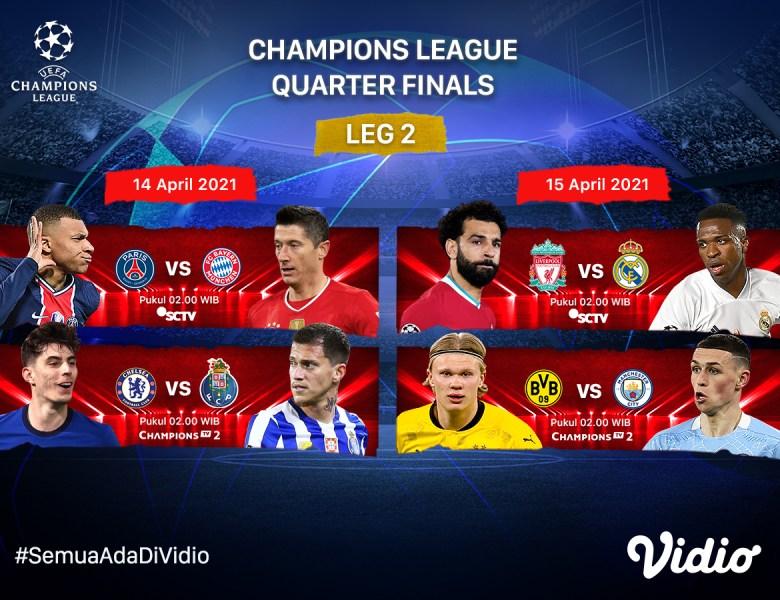 Jadwal dan Link Live Streaming Liga Champions 2020/2021 Babak 8 Besar Leg Kedua di Vidio