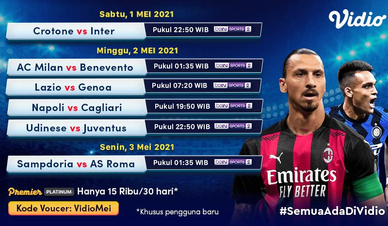 Jadwal Lengkap Liga Italia & Link Nonton Serie A Pekan 34 di Vidio