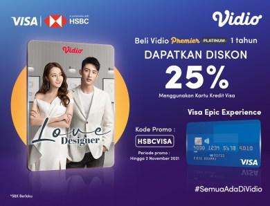 Paket Vidio 1 Tahun Diskon 25% Dengan Promo Kartu Kredit HSBC VISA
