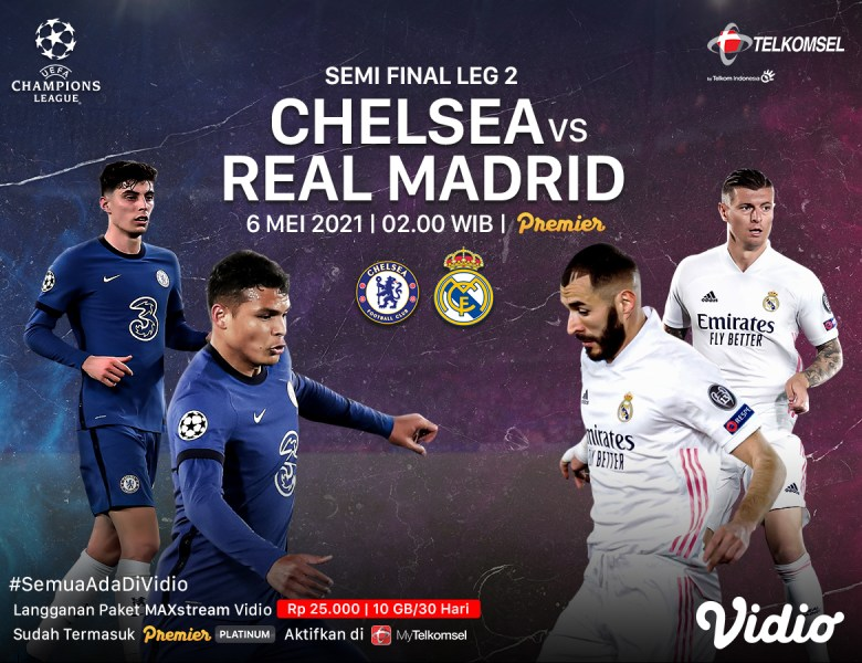 Live Streaming Liga Champions Chelsea vs Real Madrid di Vidio