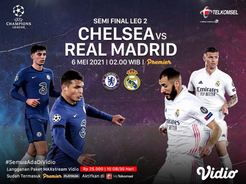 Live Streaming Liga Champions Chelsea vs Real Madrid di Vidio