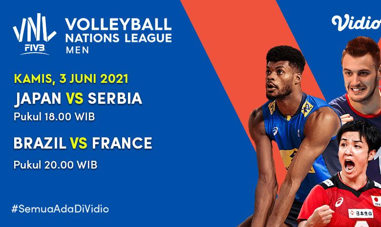 Live Streaming VNL 2021: Big Match Jepang vs Serbia dan Brazil vs Perancis Hari Ini, Kamis 3 Juni 2021 Eksklusif di Vidio