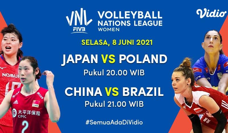 Live Streaming Big Match VNL 2021: Brazil Terus Jajaki Pemuncak Klasemen Sementara, 8 Juni 2021 Eksklusif di Vidio