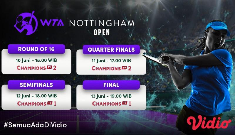 Jadwal WTA Viking Open Nottingham Pekan Ini: 16 Besar hingga Final, 10-13 Juni 2021 Live Streaming di Vidio