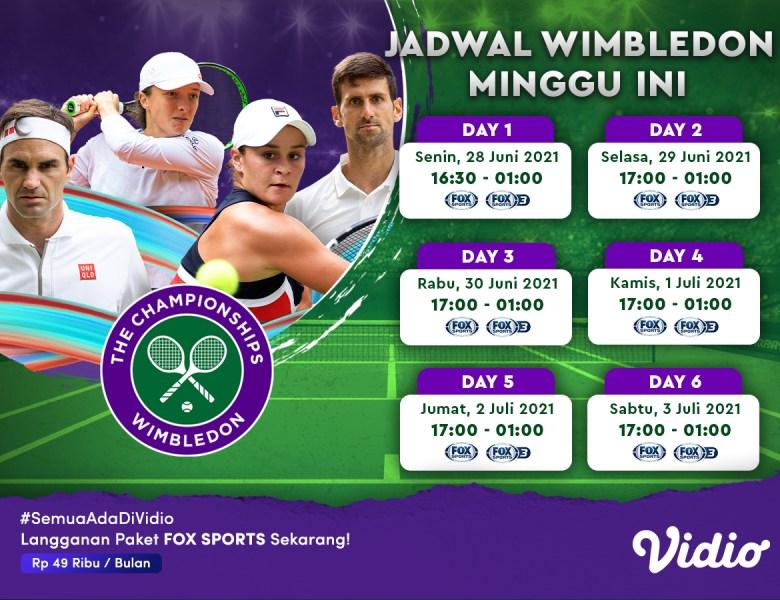 Jadwal Tenis Grand Slam The Wimbledon Championships 2021 Minggu Ini: Boleh Dihadiri Penonton, 28 Juni – 3 Juli Eksklusif di Vidio