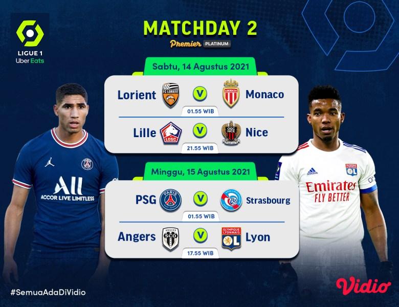 Link Live Streaming Nonton Ligue 1 Prancis Matchday 2 2021