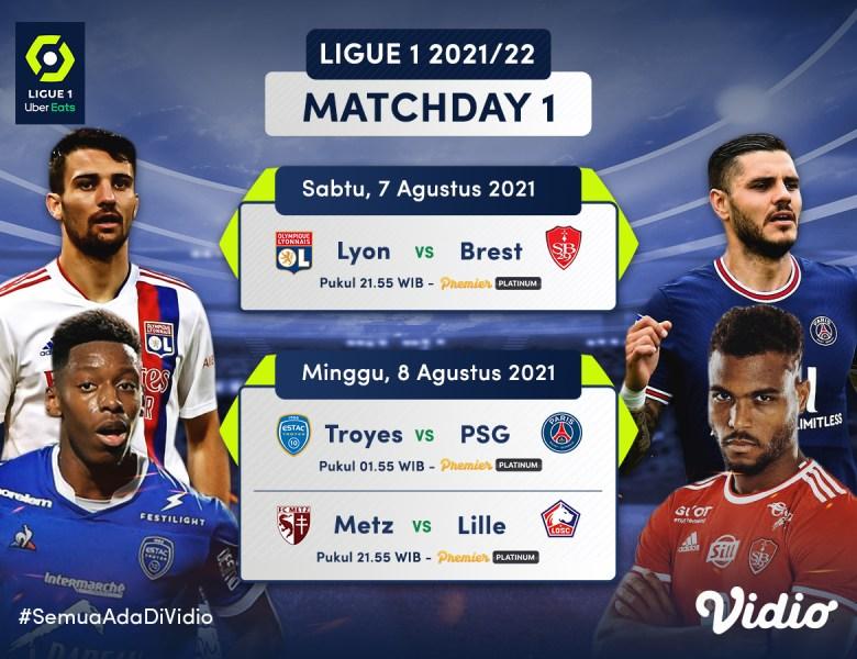 Live Streaming Ligue 1 Matchday 1 2021/22 Akhir Pekan Ini