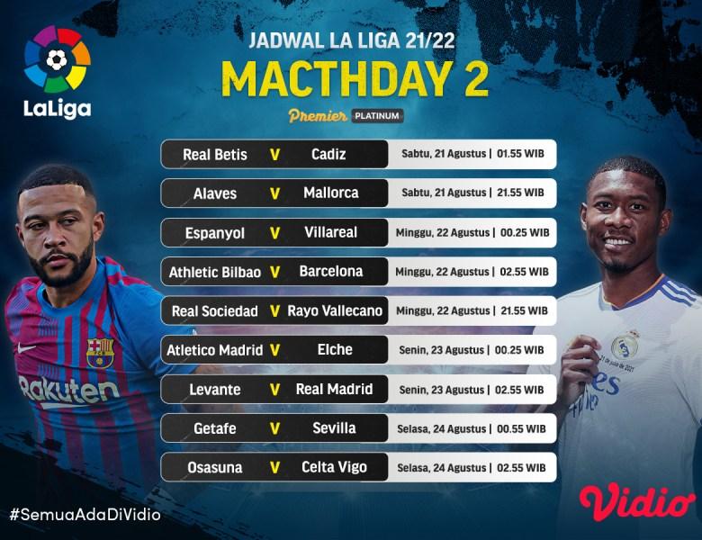 Link Live Streaming Nonton La Liga Matchday 2 2021/22