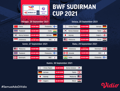 BWF Sudirman Cup 2021: Jadwal dan Link Live Streaming Pekan 1