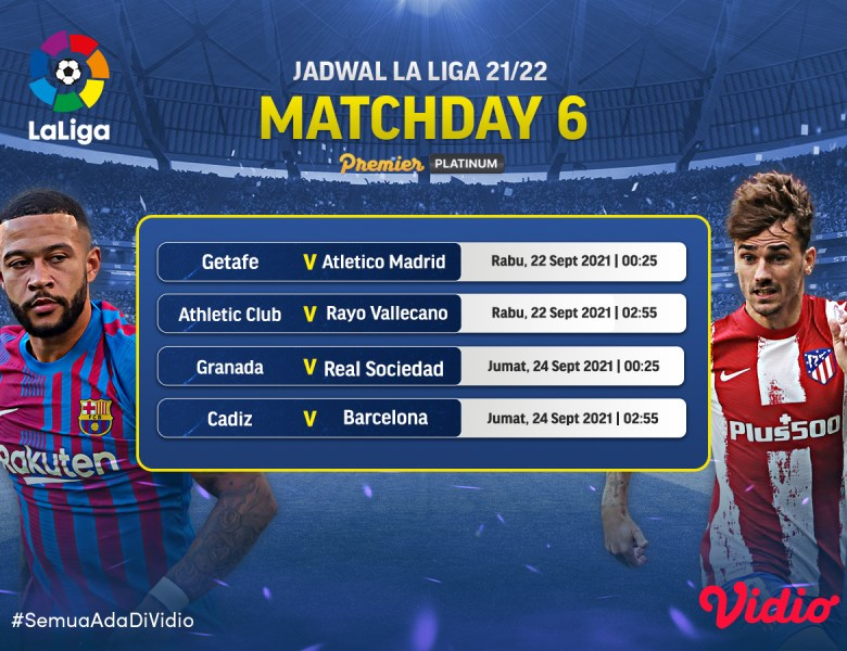 Jadwal dan Link Live Streaming La Liga 2021/22 Jornada 6